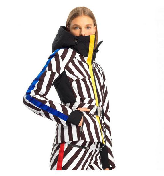 Rossignol W SKIFI PR JKT dámská pruhovaná lyžařská bunda