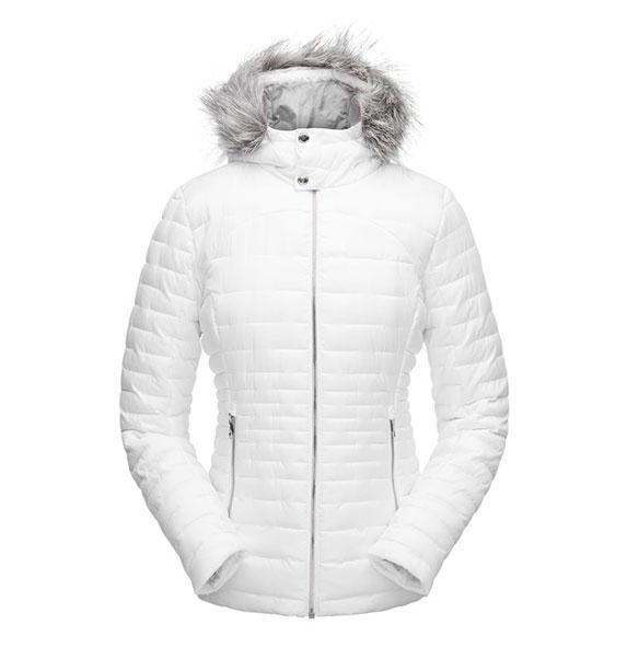 Spyder W EDYN HOODY INSULATED Jacket dámská bílá zimní bunda wht/wht